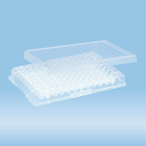 Micro test plate, 96 well, slip-on lid, round base, PS, transparent