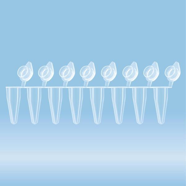 PCR strip of 8, 100 µl, PCR Performance Tested, transparent, PP, flat lid