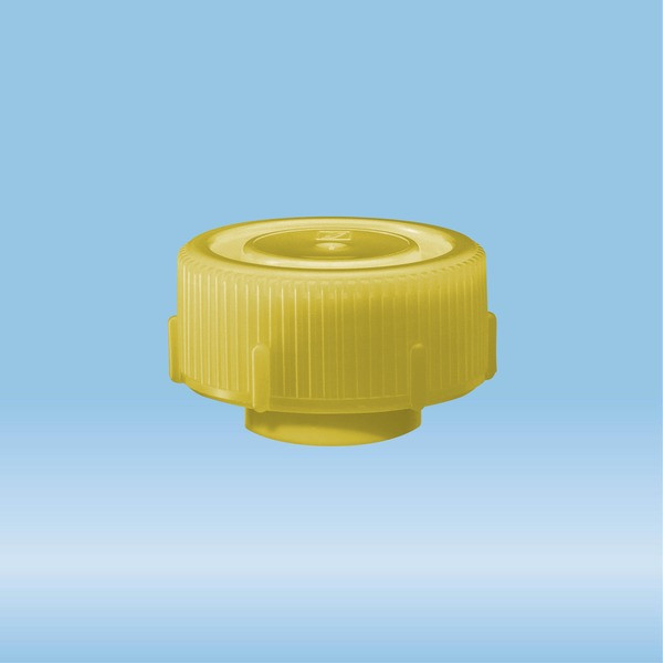 Screw cap, yellow, suitable for protective container 126 x 30 mm