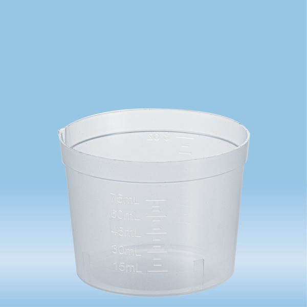 Urine container, 75 ml, (ØxH): 65 x 48 mm, PP, transparent