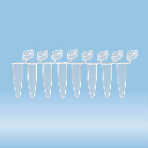 PCR strip of 8, PCR Performance Tested, transparent, PP, flat cap
