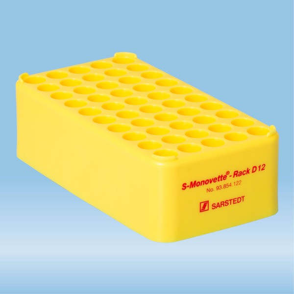 S-Monovette® rack D12, Ø opening: 12 mm, 10 x 5, yellow