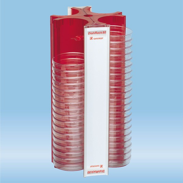 DishRack, height: 370 mm, red, for 88 petri dishes with 92 mm Ø