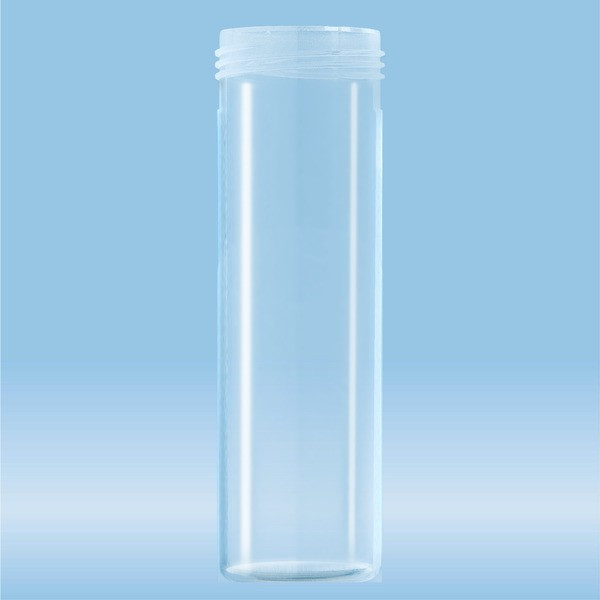 Mailing container, transparent, construction: round, length: 85 mm, Ø opening: 30 mm, without cap