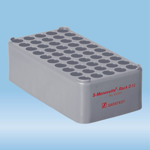 S-Monovette® rack D12, Ø opening: 12 mm, 10 x 5, grey