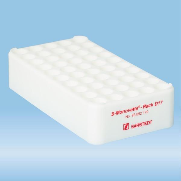 S-Monovette® rack D17, Ø opening: 17 mm, 10 x 5, white