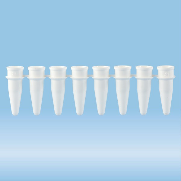 PCR strip of 8, 200 µl, PCR Performance Tested, white, PP, flat lid