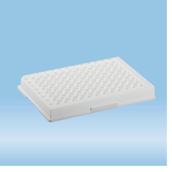 ELISA plate, 96 well, flat base, PS, white, Medium Binding