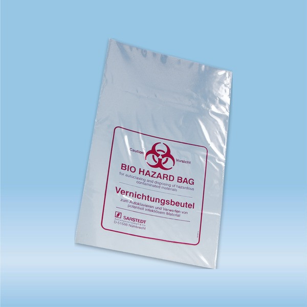 Disposal bags, 24 l, (LxW): 780 x 400 mm, PP, transparent, with print Biohazard