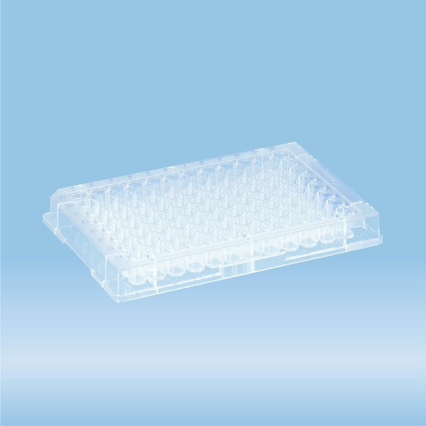 Micro test plate, 96 well, flat base, PS, transparent