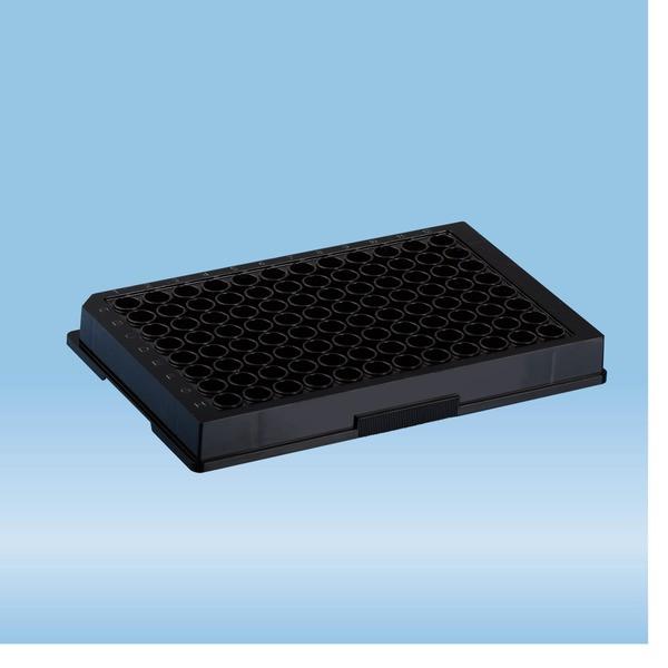 ELISA plate, 96 well, flat base, PS, black, Medium Binding