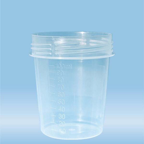 Container with screw cap, 100 ml, (ØxH): 57 x 76 mm, graduated, PP