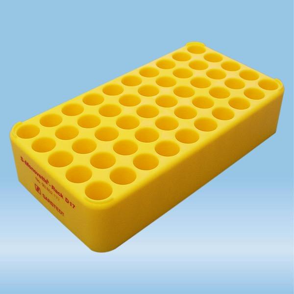 S-Monovette® rack D17, Ø opening: 17 mm, 10 x 5, yellow