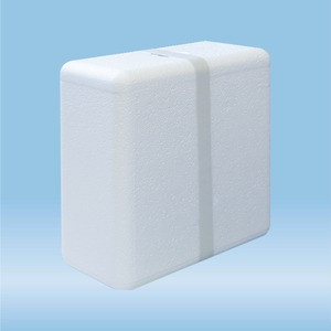Polystyrene container, suitable as outer packaging for cool transport